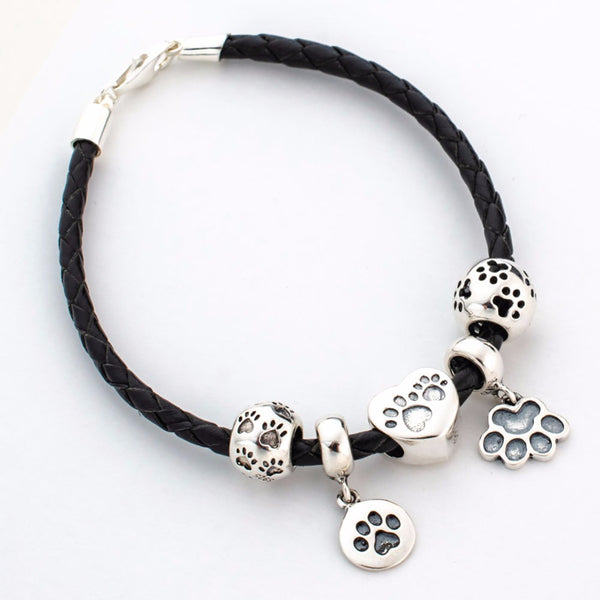 Soulbead Black Leather Silver Paw Charm Bracelet