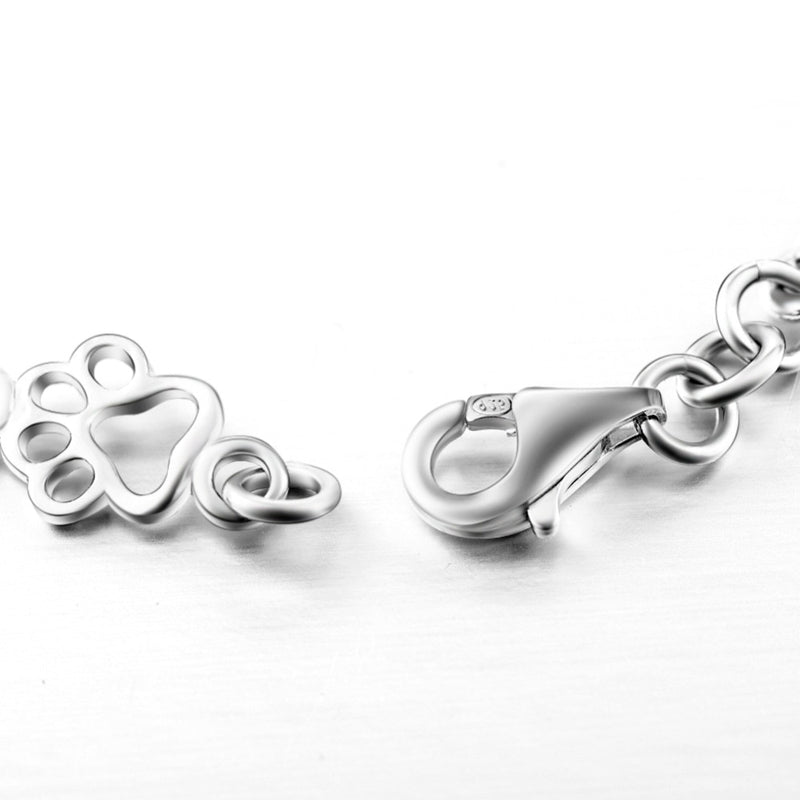 Bracelet DOG LOVER BONES and PAWS 925 Sterling Silver 7.5 inch 19cm Pet Jewelry