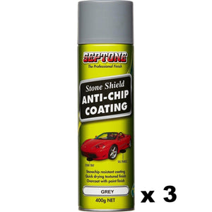 Grey Septone Aerosol Stoneshield Solvent Based Elasticised Coating 400g x 3