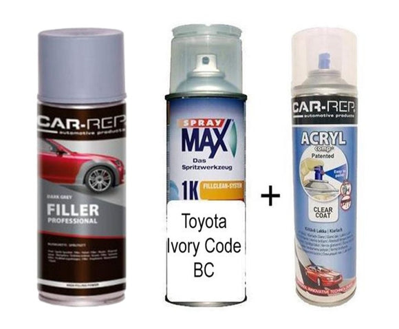 Car Touch Up Can Toyota Ivory Code BC Plus 1k Clear Coat & Primer