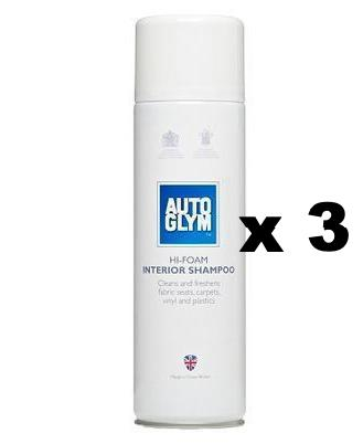 Autoglym Hi Foam Interior Shampoo Car Care Spray 450ml x 3