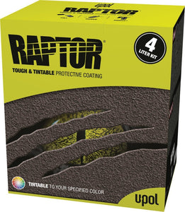 U-Pol Raptor Tintable Tough Protective Coating UV Resistant Tub/Bed Liner Kit 4L