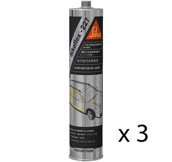 Sikaflex 227 Black Adhesive Sealant For Body Kits Car Construction 310ml x 3