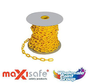 Maxisafe Yellow Plastic 6mm Heavy Duty Safety Chain 40 Metres