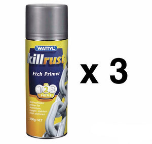 Wattyl Killrust Etch Primer Aerosol 300g Fast Drying Anti Corrosive x 3