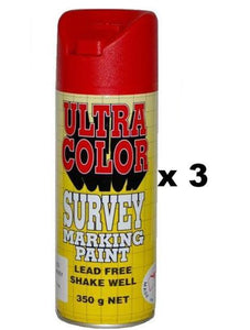 Ultracolor Survey Marketing Paint Spot Marker Aerosol Can 350g Fluoro Red x 3