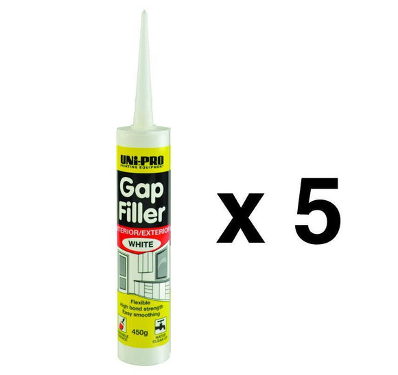 Uni-Pro Gap Filler Interior Exterior Sealant White Gaps Cracks 450g x 5