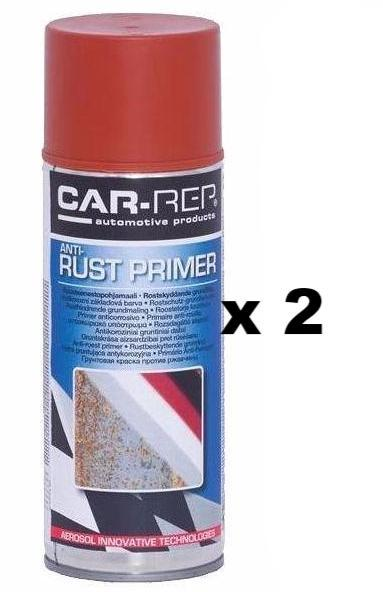 Automotive Anti Corrosion Rust Primer Spray Wet On Wet Alkyd Based 400ml Red x 2