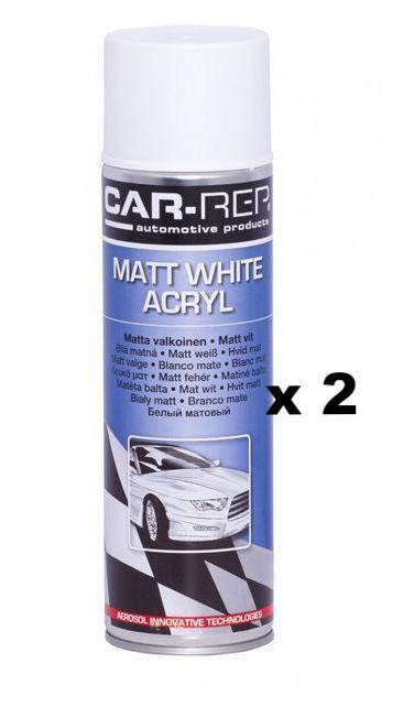 Professsional Automotive Paint Panel Spray White Matt Acrylic Aerosol 500ml x 2