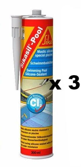Sikasil Pool Clear Silicone Sealant Swim Wet Areas Tile Glass Concrete 300ml x 3