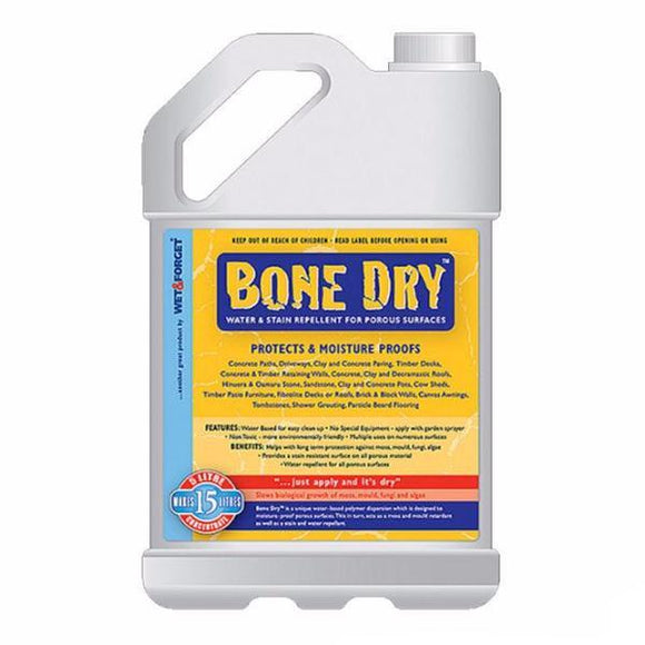 Wet and Forget Bone Dry Water Stain Repellent For Porous Surfaces 5L Protection