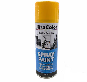 Spray Paint Fast Drying Interior Exterior Horizontal Vertical 250g Golden Yellow