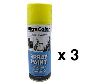 Spray Paint Fast Drying Interior Exterior Horizontal Vertical 250g Buttercup x 3