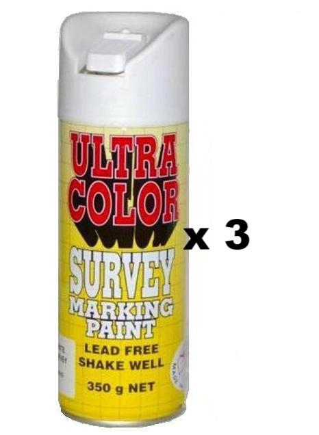 Ultracolor Survey Marketing Paint Spot Marker Aerosol Can 350g White x 3
