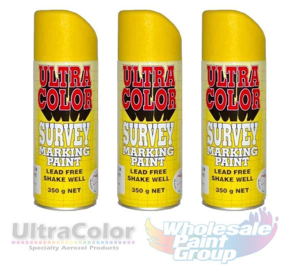 Ultracolor Survey Marketing Paint Spot Marker Aerosol Can 350g Yellow Fluoro x 3