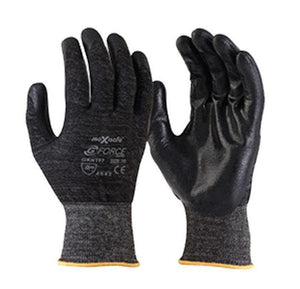 Black Maxisafe Working Gloves Cut Resistant Proof High Density PU Palm Work Safety