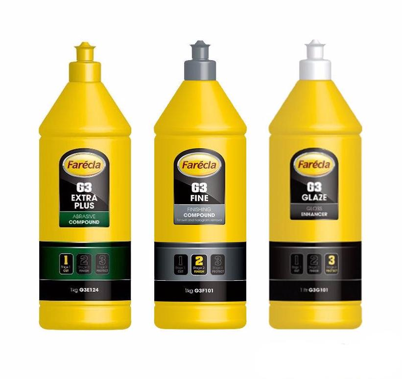 Farecla G3 Three Step Cut-Finish-Protect Bundle 3 x 1L Extra Plus Fine & Gloss