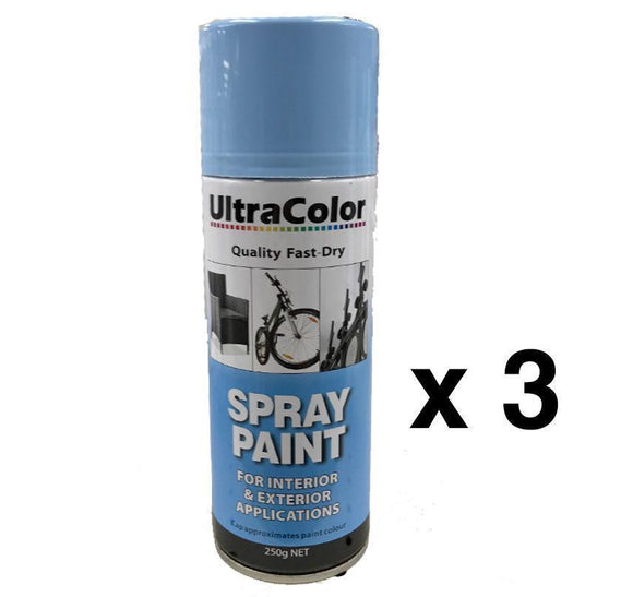 Spray Paint Fast Drying Interior Exterior Horizontal Vertical 250g Baby Blue x 3