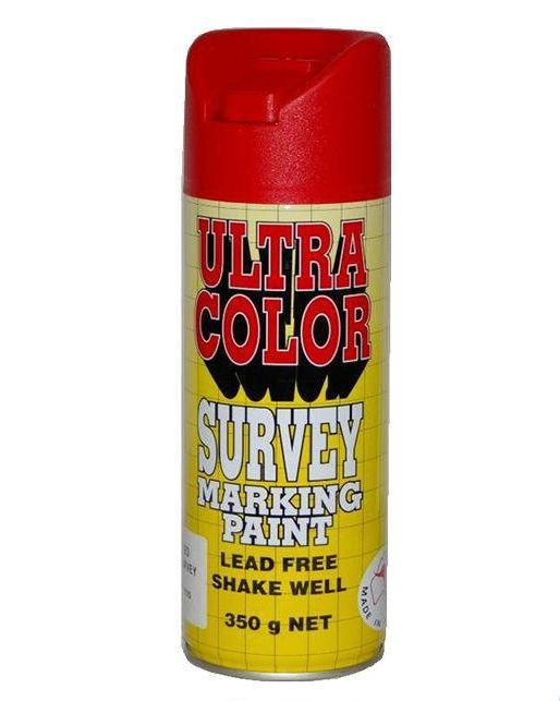 Ultracolor Survey Marketing Paint Spot Marker Aerosol Can 350g Fluoro Red