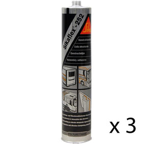 Sikaflex 252 Assembly Adhesive Black 300ml Elastic Bonding Structural Joint x 3