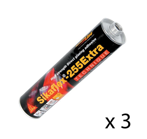 Sikaflex 255 Extra+ Plus Black High Performance Adhesive Glass 310ml x 3