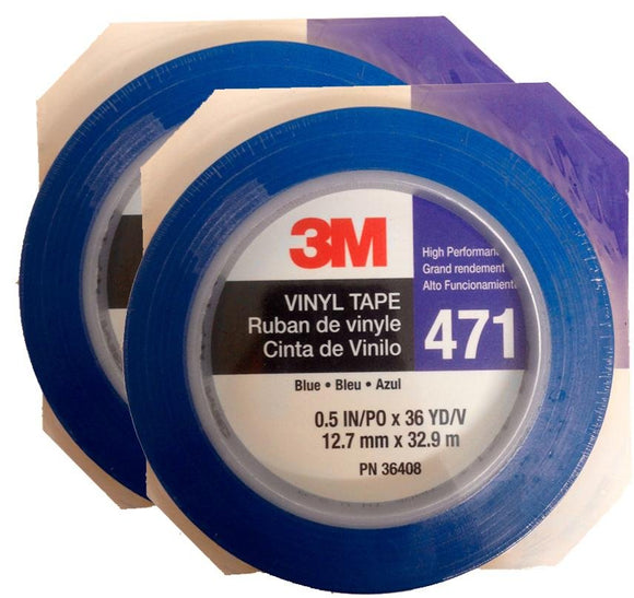 3M Fine Line Vinyl Tape 471 Blue 2 Rolls 12.7mm X 32.9m 36408