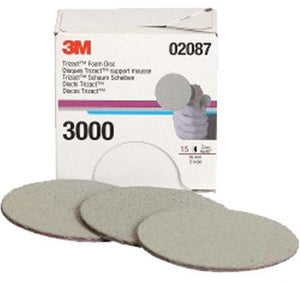 3M TRIZACT HOOKIT FOAM DISC 3 INCH 75mm 3000 GRIT 02087 FOAM BACKING QTY 15