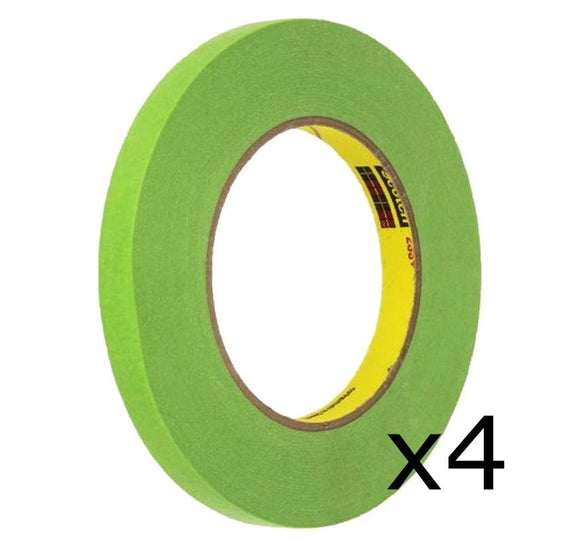 3M 12mm 1/2'' Scotch Performance Green Masking Tape 233+ 4 Rolls 26332