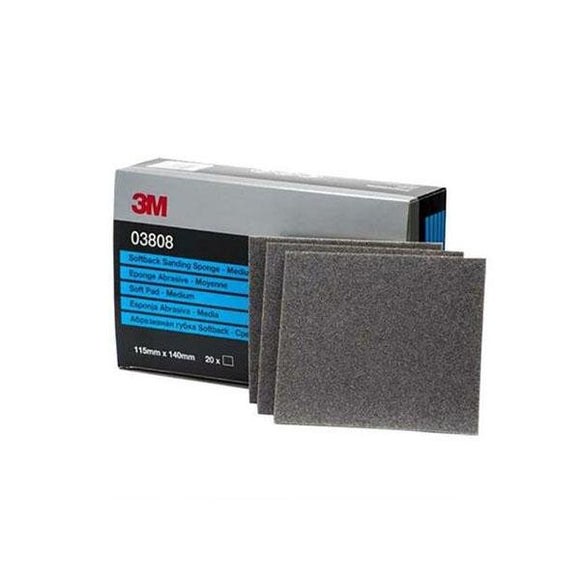 3M Softback Wet Or Dry Sanding Sponge Medium (03808) - 20 Pack 115mm x 140mm