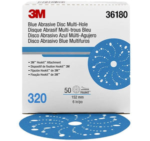 3M Hookit Blue Abrasive Disc Multihole 6 inch 150mm 320G 36180 50 Pack Sandpaper