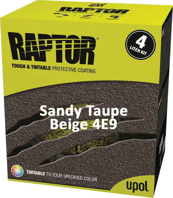 U-Pol Raptor Tintable Sandy Taupe / Beige 4E9 Protective Tub/Bed Liner Kit 4L