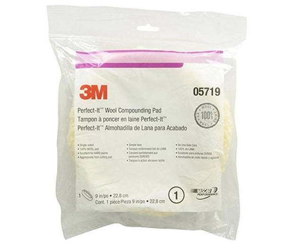 3M Perfect-It 100% Wool Buffing Compounding Pad Single Sided 05719 8inch