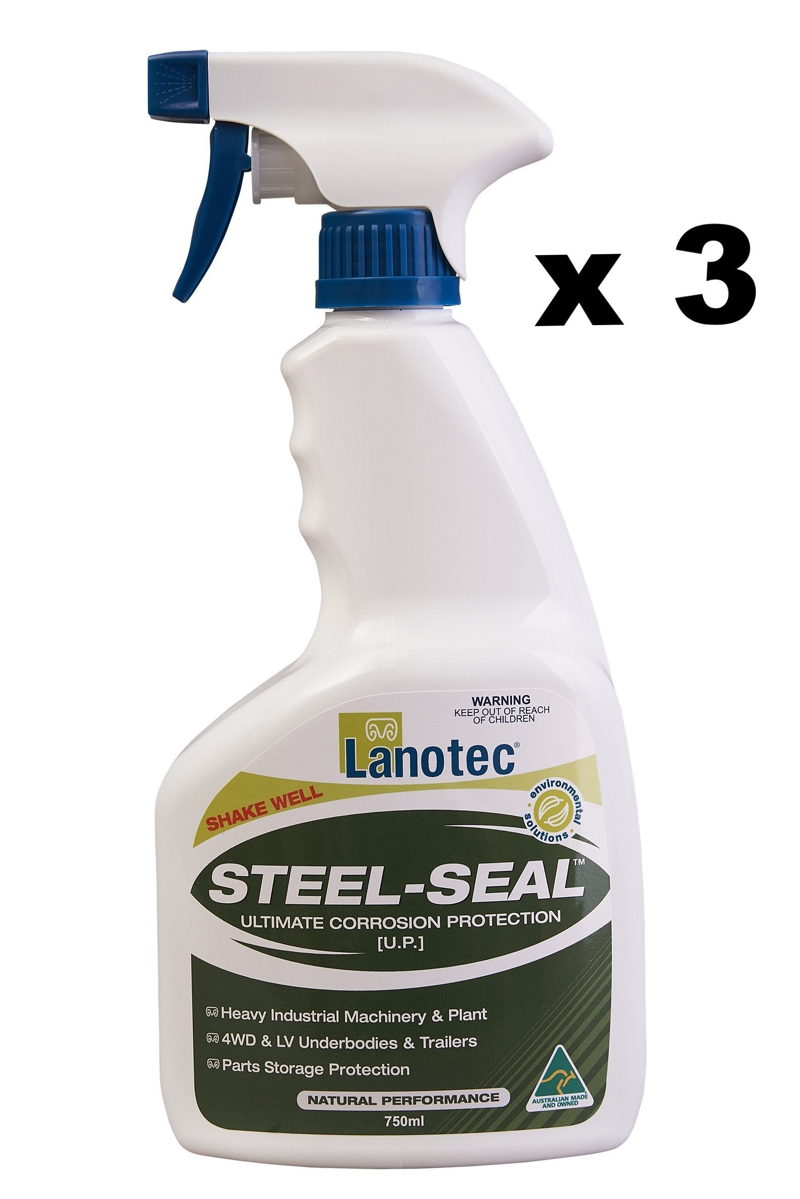 Lanotec Lanolin Steel-Seal Corrosion Protection 4WD Trailers Ag Marine 750ml x 3