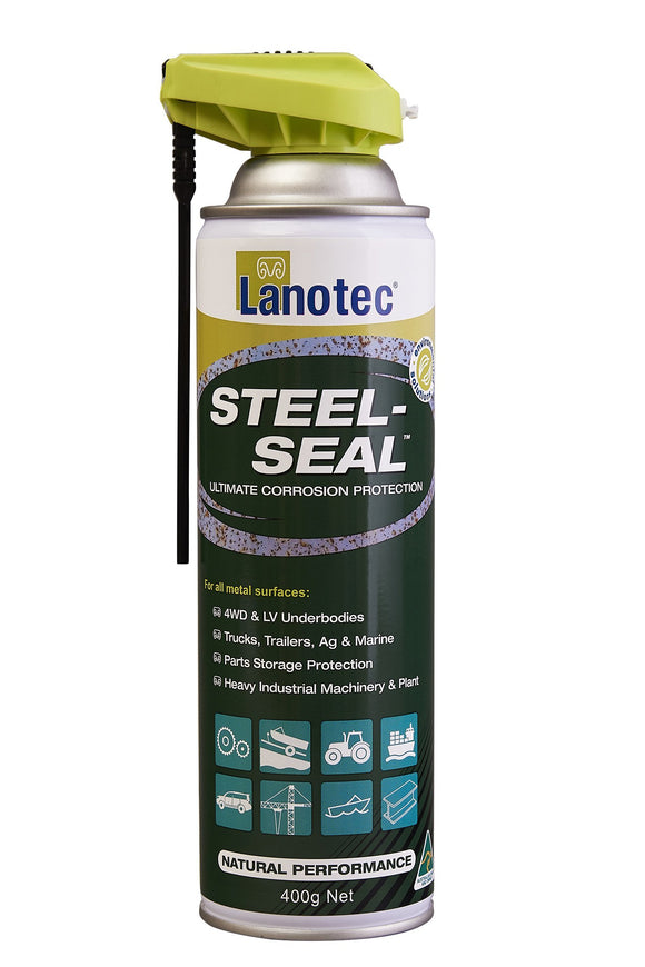 Lanotec Lanolin Steel-Seal Corrosion Protection 4WD Trailers Ag Marine Spray 400g