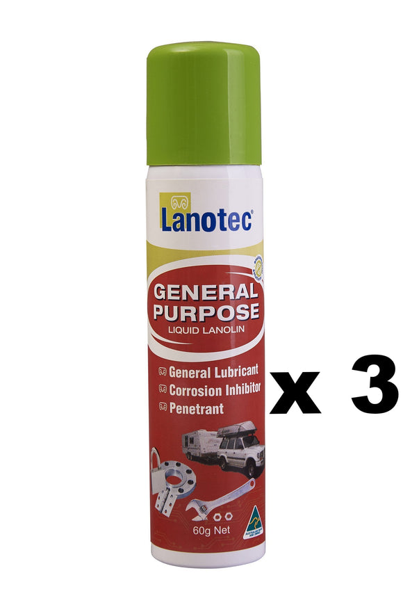 Lanotec General Purpose Liquid Lanolin Lubricant Clean Penetrant Spray Can 60g x 3