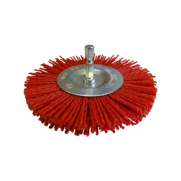 Josco 100mm Abrasive Nylon Wheel Brush Red JAW100R Plastic Wood Steel Aluminium