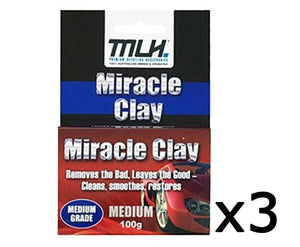 MLH Miracle Clay Cleaning Block Medium Grade 100g 3 Pack