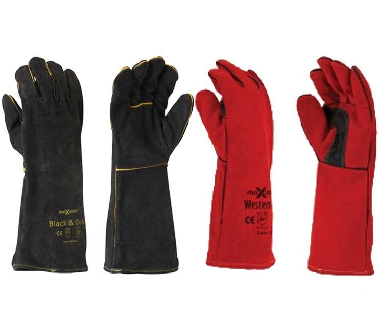 Maxisafe Black Red Welding Gauntlet Gloves Fabrication Foundry Safety 2 Pairs