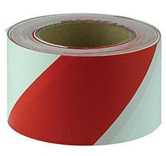 Maxisafe Red & White Barricade Tape - 100m Safety Barrier Stripe Danger