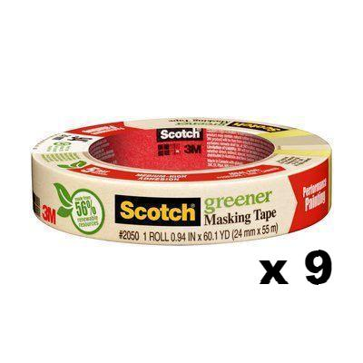3M Scotch Green Medium-High Adhesion Masking Tape 2050 24mm x 55m x 9
