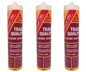 Sikasil Pro Trade Quality Silicone Sealant 300ml White 3 Pack
