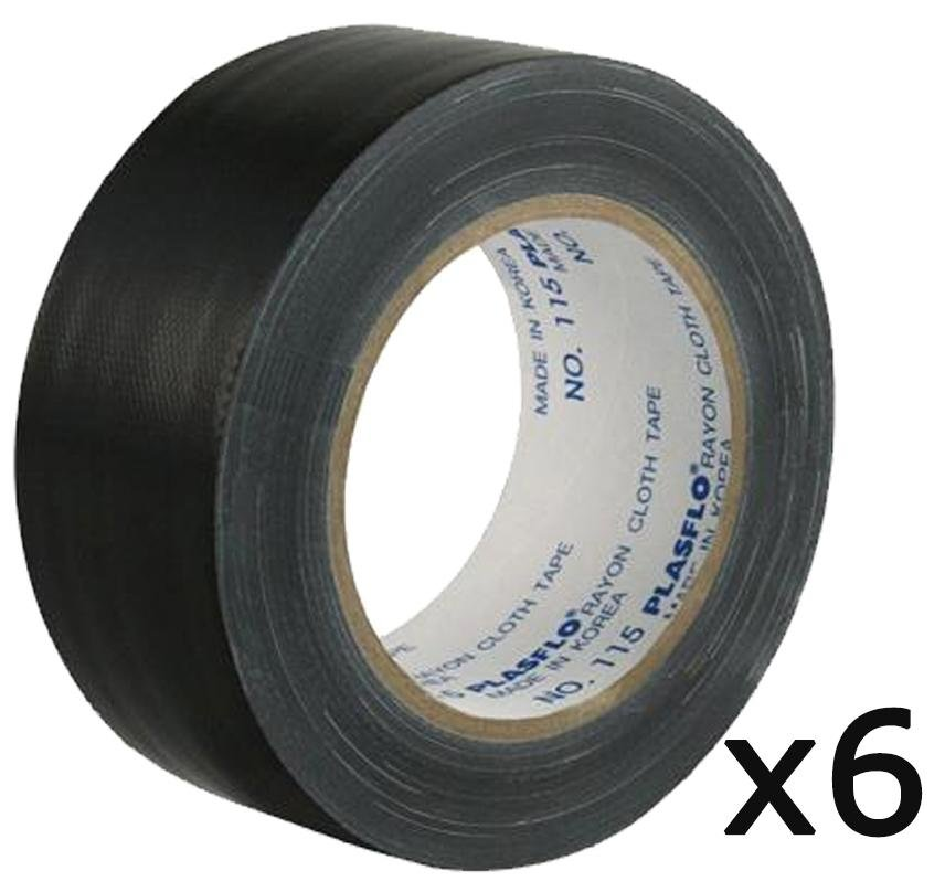 Supertape Premium Grade Black Cloth Tape CT70 48mm x 25m 6 Pack