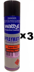 Wattyl Spray Mate Super Etch Primer Epoxy Black 400g x 3