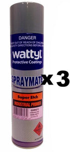 Wattyl Spray Mate Super Etch Primer Epoxy Grey 400g x 3