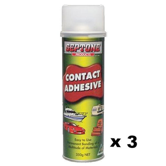 Septone Contact Spray On Adhesive Car Interior Plastic Vinyl Headliner Carpet Glue 350g x 3