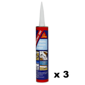 Sikaflex 291 Marine Adhesive Sealant 310ml Black Wood Metal Paint Primers x 3