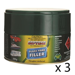 SEPTONE GLASS FIBRE 500G POLYESTER FILLER PUTTY INCLUDES HARDENER SAND PANEL BOG x 3