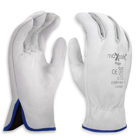 General Purpose Maxisafe Riggers Gloves Premium Cow Grain Leather Soft White