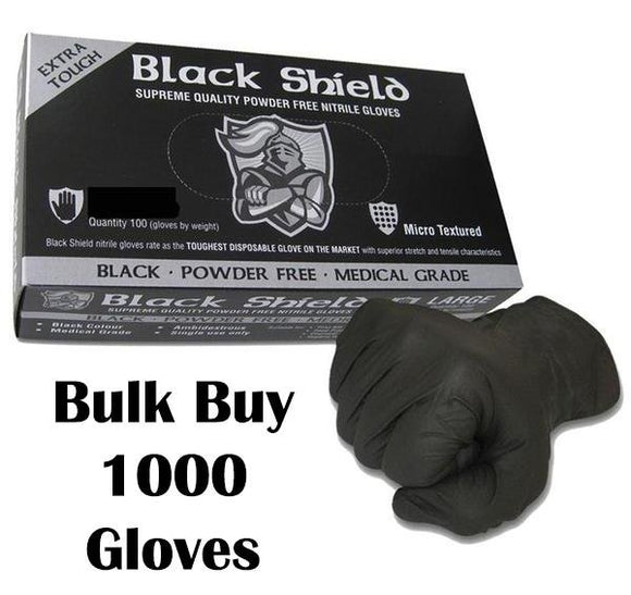 Black Nitrile Gloves Disposable Nitro Powder Free Industrial Grade Gloves Small x 1000