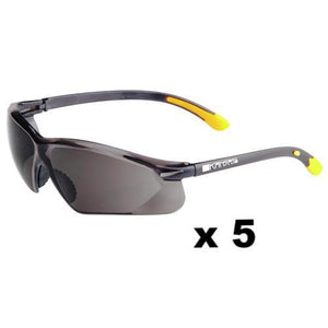 Maxisafe Kansas Safety Glasses AS/NZS1337 Anti Scratch Fog Coating Smoke x 5